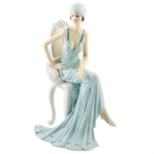 Juliana Collection Broadway Belle Figurine Dressed in Teal Sat on a Chair With Hand on Hip 58378